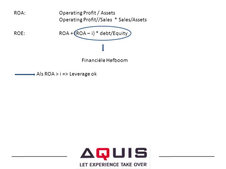 ROA:. Operating Profit / Assets. Operating Profit//Sales