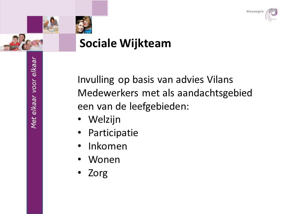 Sociale Wijkteam Invulling op basis van advies Vilans