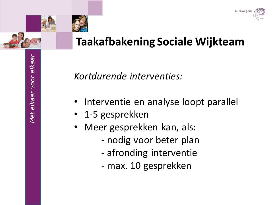 Taakafbakening Sociale Wijkteam