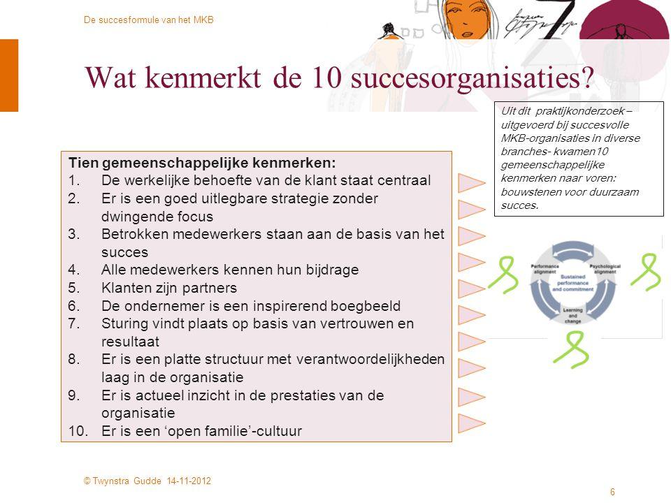 Wat kenmerkt de 10 succesorganisaties