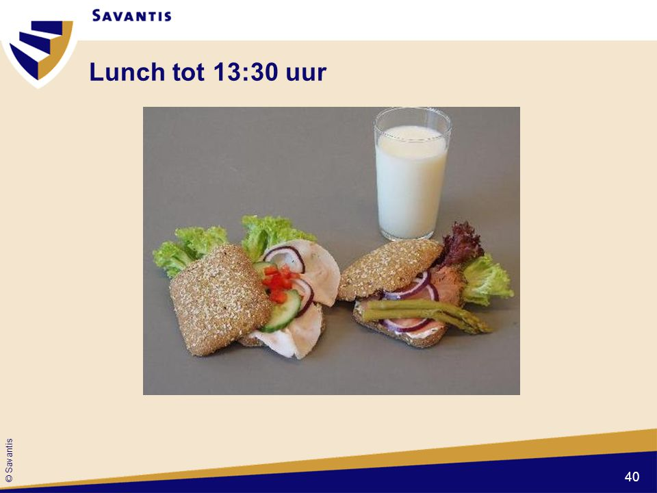 Lunch tot 13:30 uur
