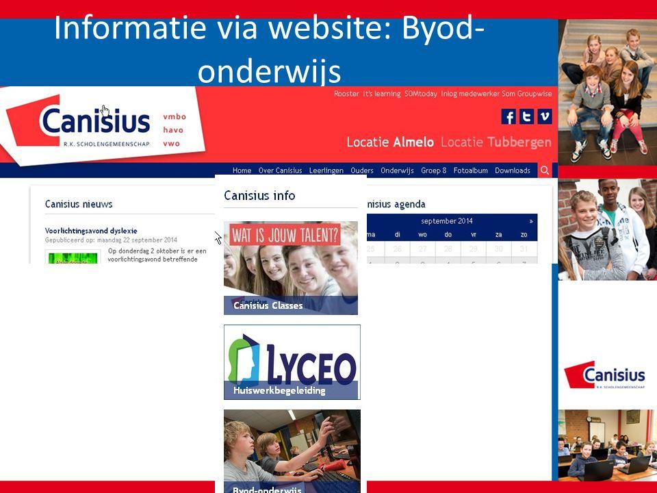 Informatie via website: Byod-onderwijs