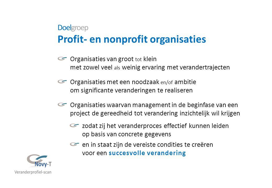 Doelgroep Profit- en nonprofit organisaties