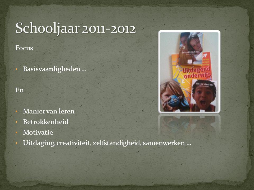Schooljaar 2011-2012 Focus Basisvaardigheden … En Manier van leren