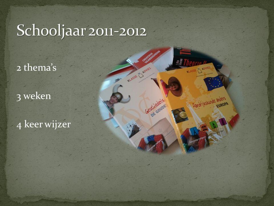 Schooljaar 2011-2012 2 thema's 3 weken 4 keer wijzer