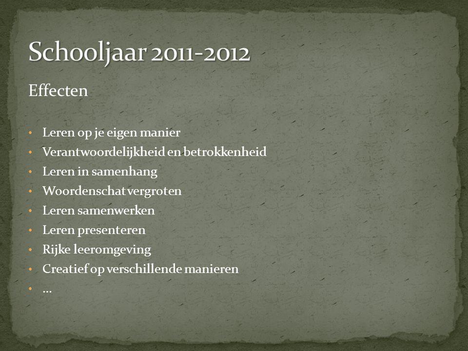 Schooljaar 2011-2012 Effecten Leren op je eigen manier