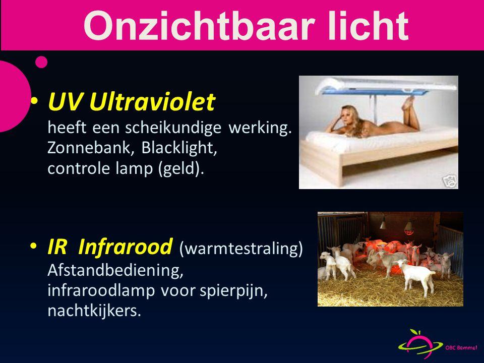 Onzichtbaar licht UV Ultraviolet heeft een scheikundige werking. Zonnebank, Blacklight, controle lamp (geld).