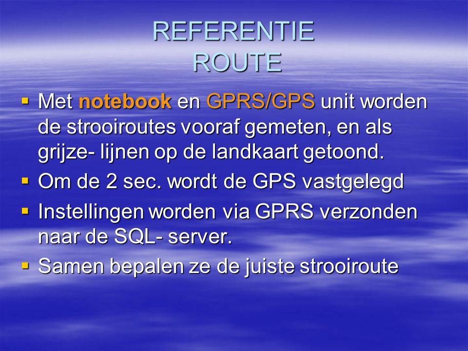 REFERENTIE ROUTE Met notebook en GPRS/GPS unit worden de strooiroutes vooraf gemeten, en als grijze- lijnen op de landkaart getoond.