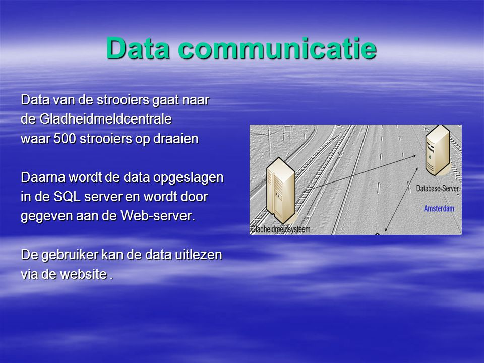 Data communicatie Data van de strooiers gaat naar