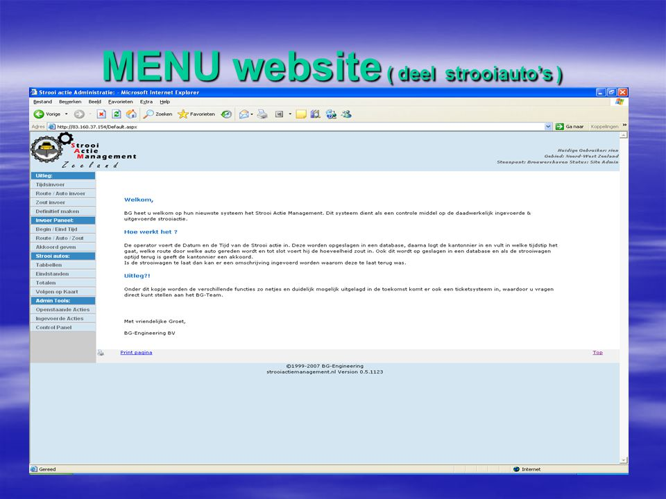MENU website ( deel strooiauto's )
