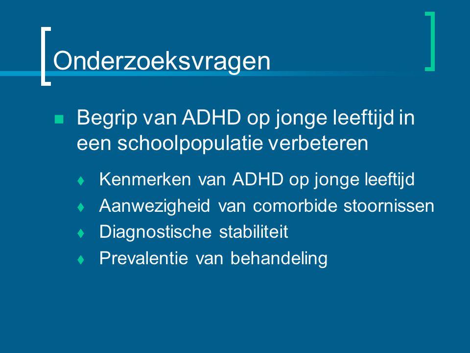 Onderzoeksvragen Begrip van ADHD op jonge leeftijd in een schoolpopulatie verbeteren. Kenmerken van ADHD op jonge leeftijd.