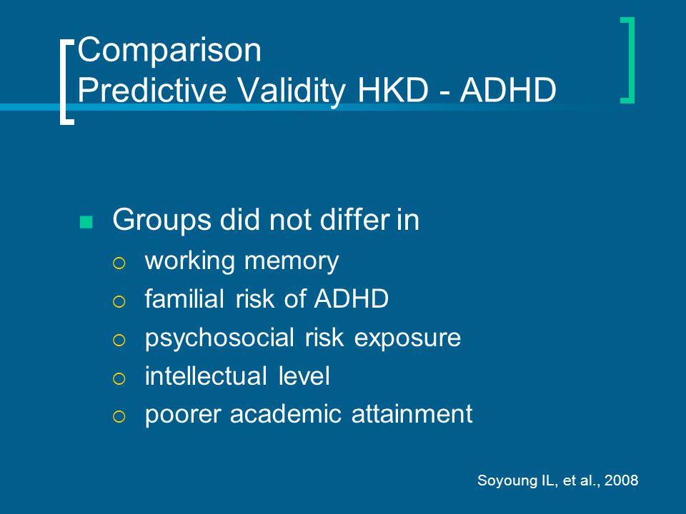 Comparison Predictive Validity HKD - ADHD