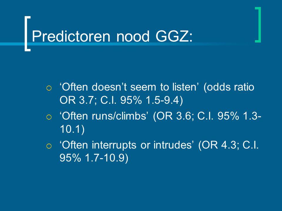 Predictoren nood GGZ: 'Often doesn't seem to listen' (odds ratio OR 3.7; C.I. 95% 1.5-9.4) 'Often runs/climbs' (OR 3.6; C.I. 95% 1.3-10.1)