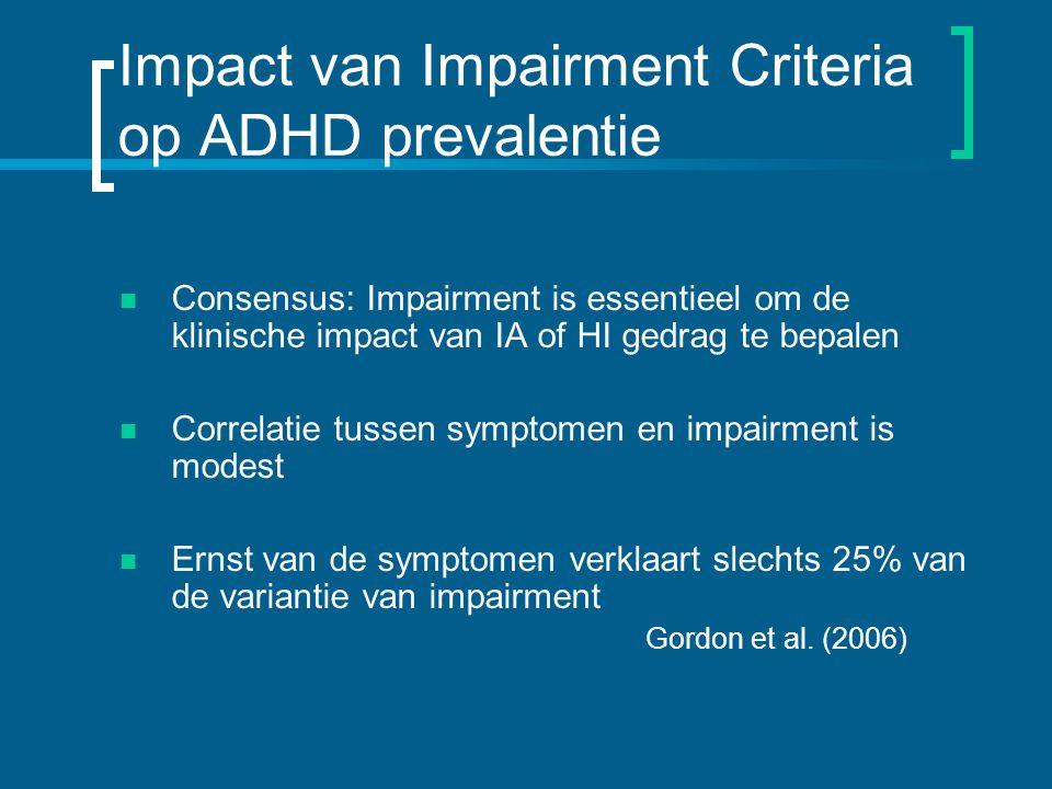 Impact van Impairment Criteria op ADHD prevalentie