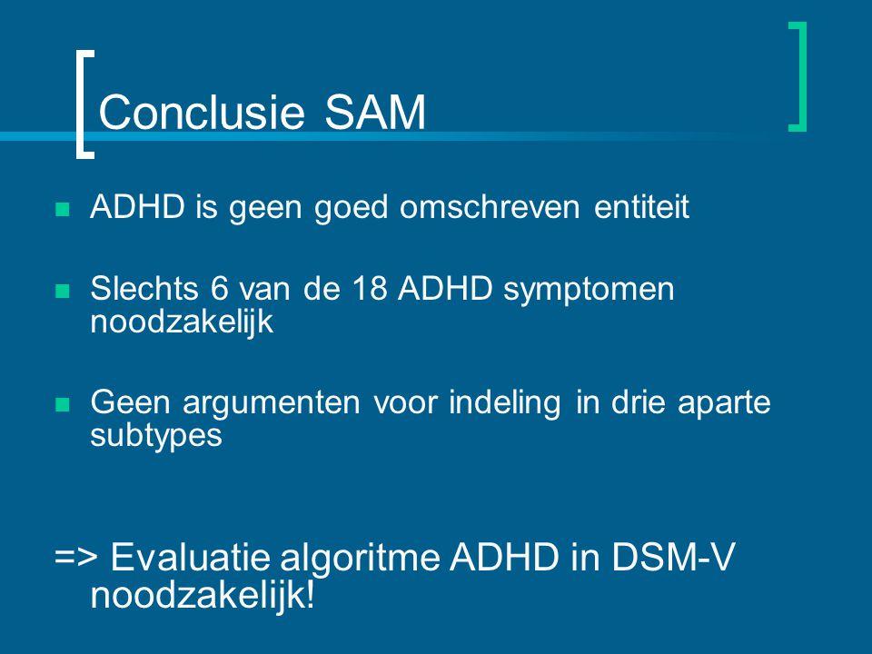 Conclusie SAM => Evaluatie algoritme ADHD in DSM-V noodzakelijk!