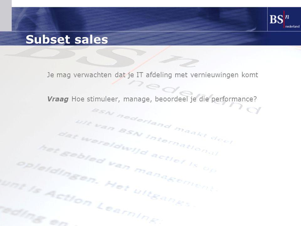 Subset sales Je mag verwachten dat je IT afdeling met vernieuwingen komt.