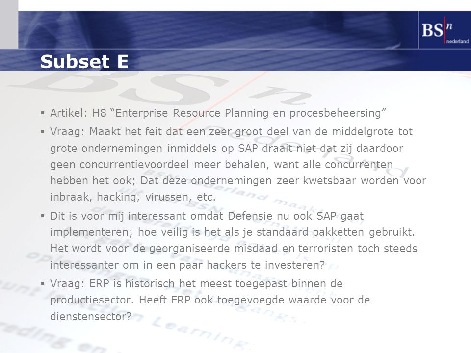 Subset E Artikel: H8 Enterprise Resource Planning en procesbeheersing