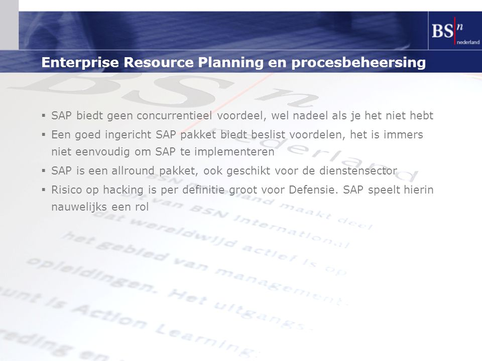 Enterprise Resource Planning en procesbeheersing
