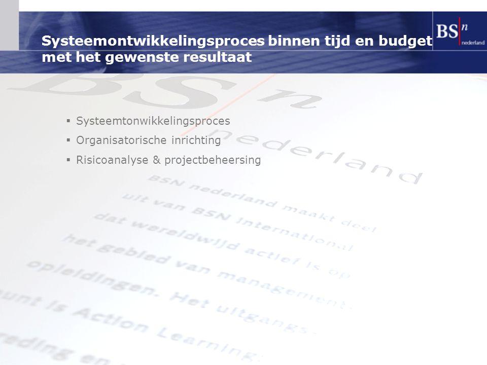 Systeemontwikkelingsproces binnen tijd en budget met het gewenste resultaat