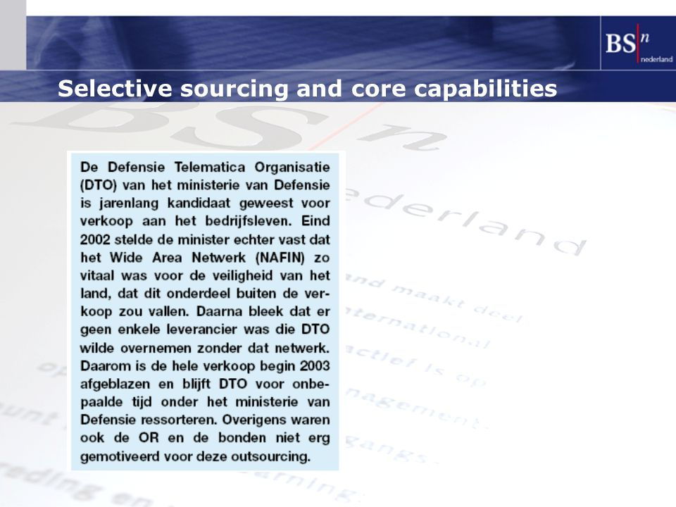 Selective sourcing and core capabilities