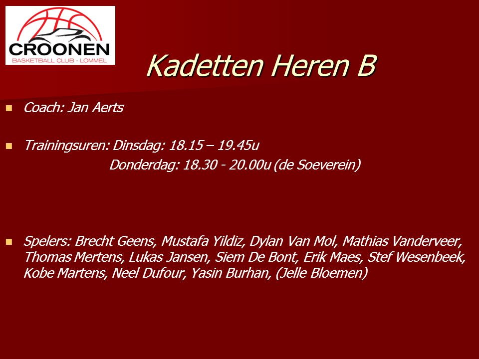 Kadetten Heren B Coach: Jan Aerts