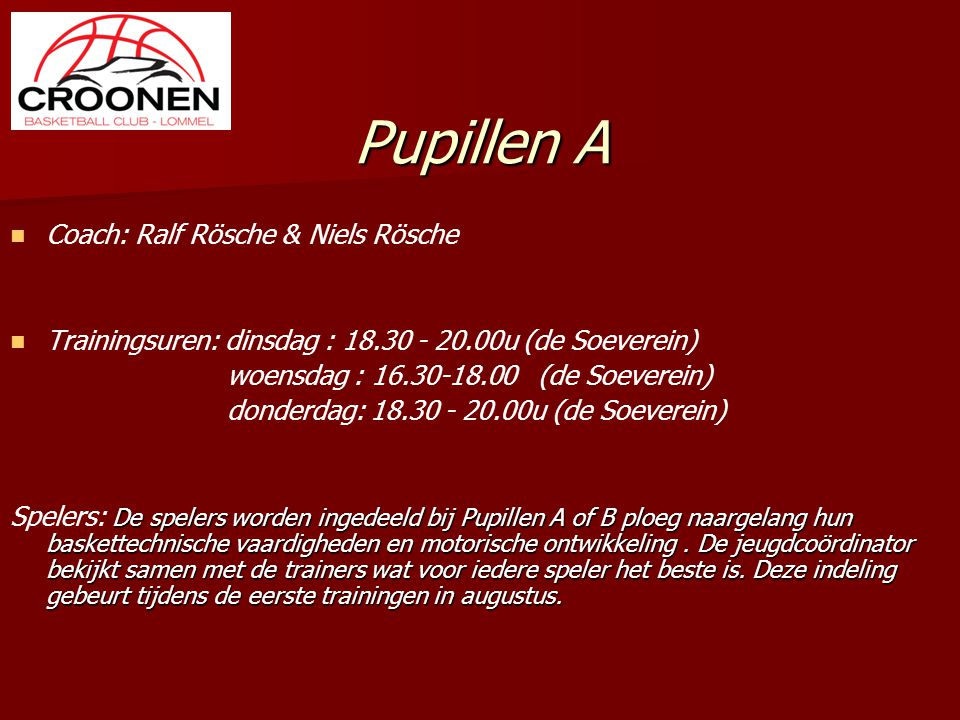 Pupillen A Coach: Ralf Rösche & Niels Rösche