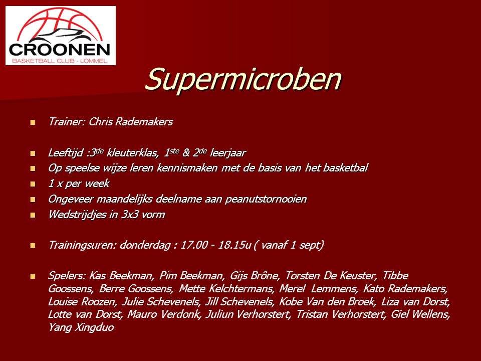 Supermicroben Trainer: Chris Rademakers