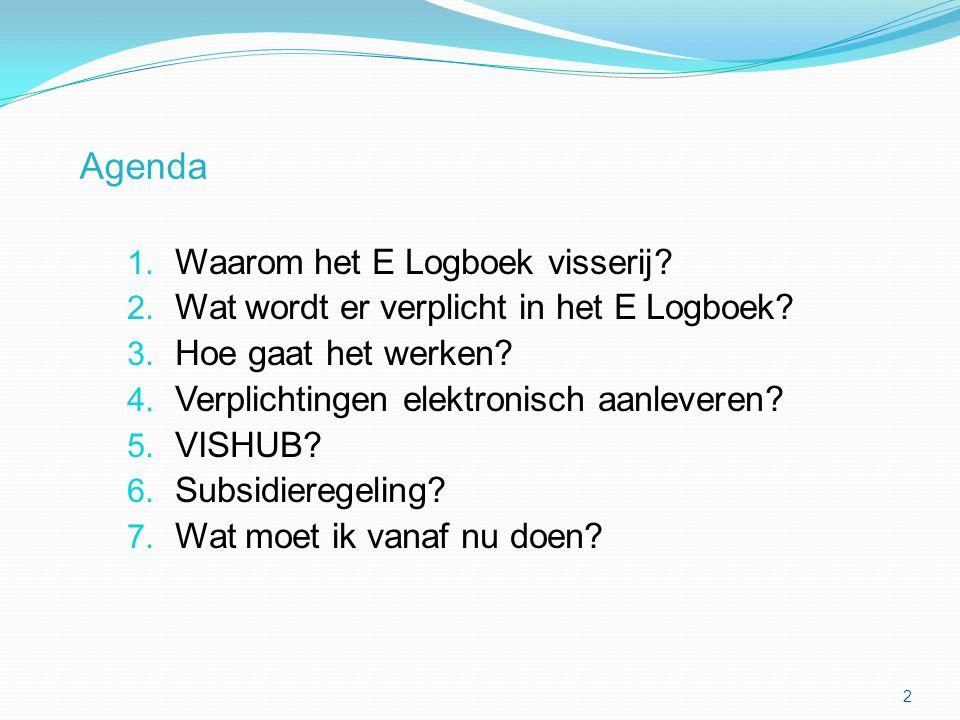 Agenda Waarom het E Logboek visserij