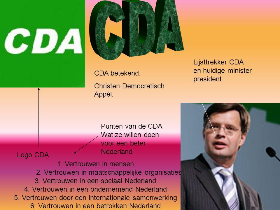 CDA Lijsttrekker CDA en huidige minister president CDA betekend: