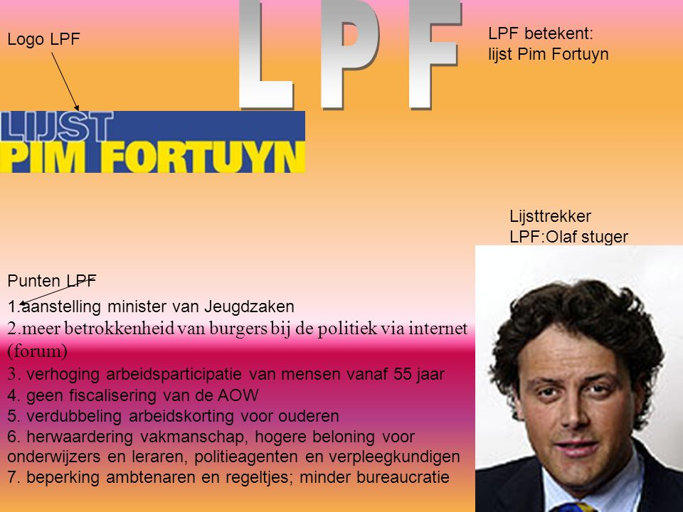 LPF LPF betekent: lijst Pim Fortuyn. Logo LPF. Lijsttrekker LPF:Olaf stuger.