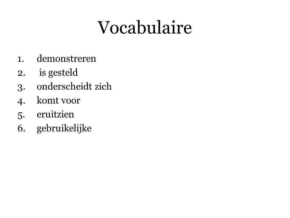 Vocabulaire demonstreren is gesteld onderscheidt zich komt voor