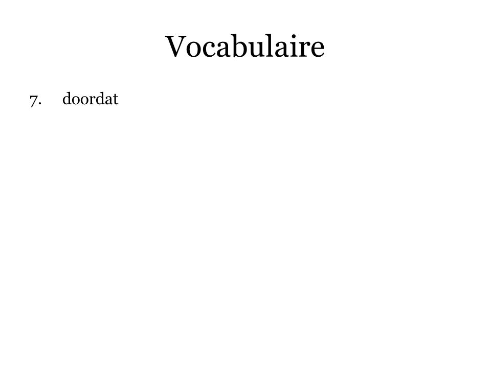 Vocabulaire doordat