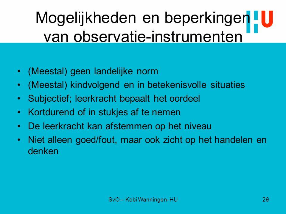 Mogelijkheden en beperkingen van observatie-instrumenten
