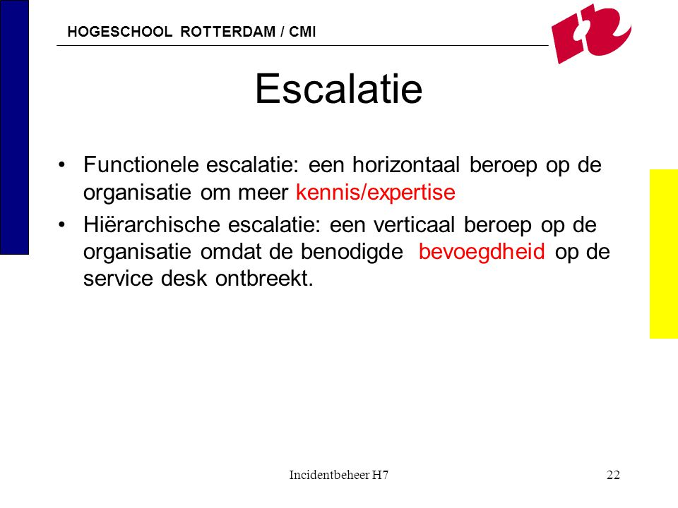 Escalatie Functionele escalatie: een horizontaal beroep op de organisatie om meer kennis/expertise.