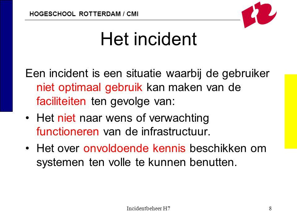 Het incident Een incident is een situatie waarbij de gebruiker niet optimaal gebruik kan maken van de faciliteiten ten gevolge van: