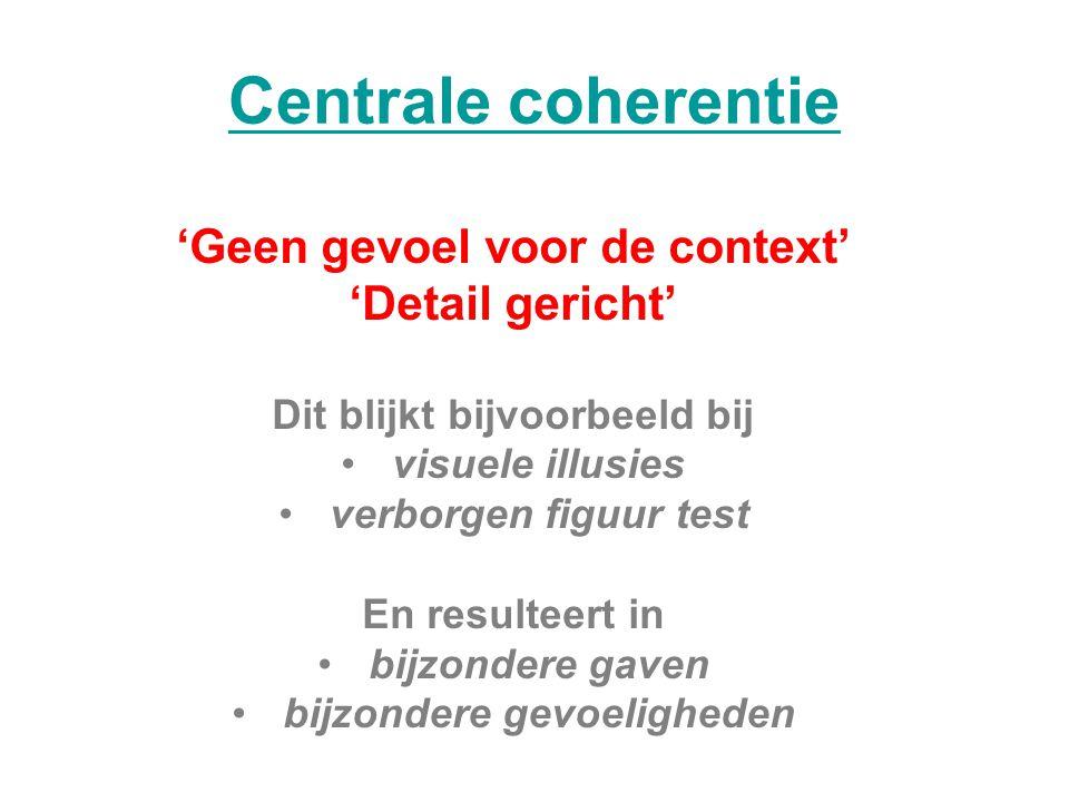 Centrale coherentie 'Geen gevoel voor de context' 'Detail gericht'