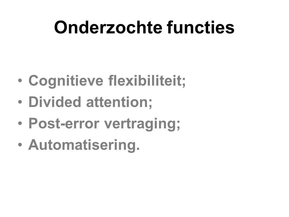 Onderzochte functies Cognitieve flexibiliteit; Divided attention;