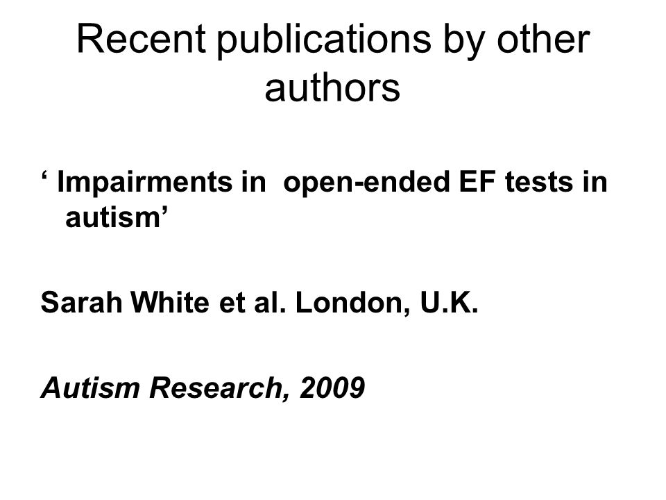 Recent publications by other authors