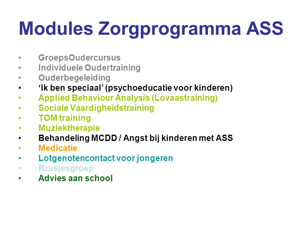 Modules Zorgprogramma ASS