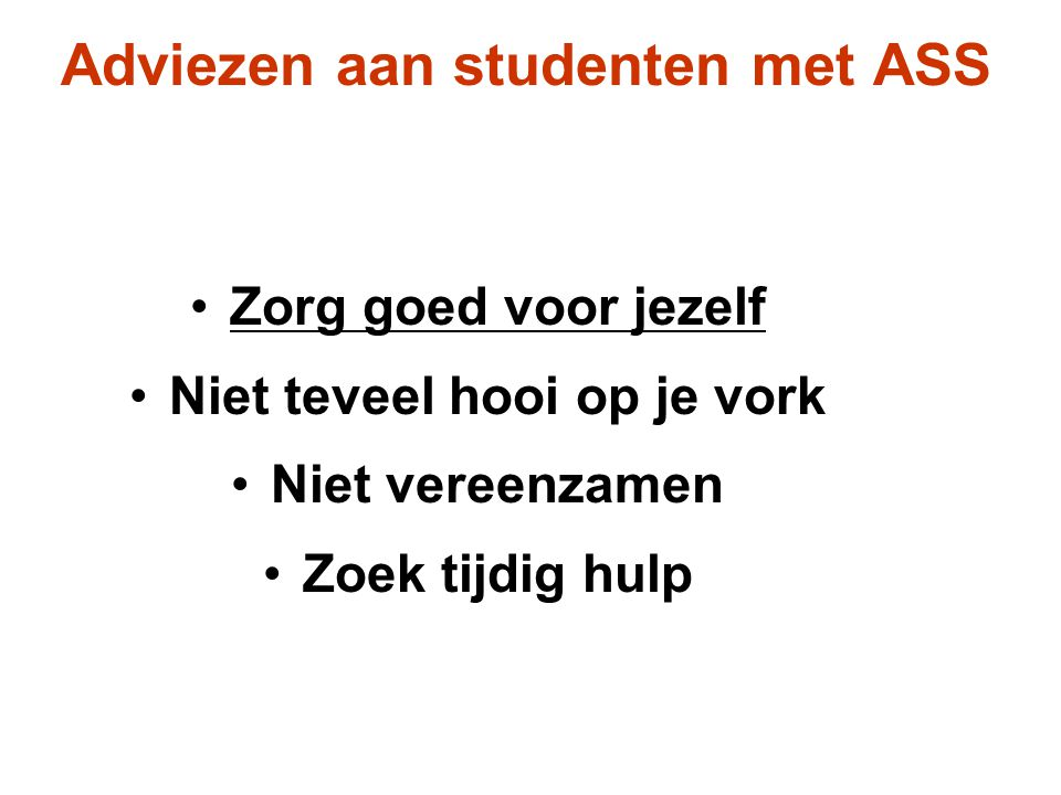 Adviezen aan studenten met ASS
