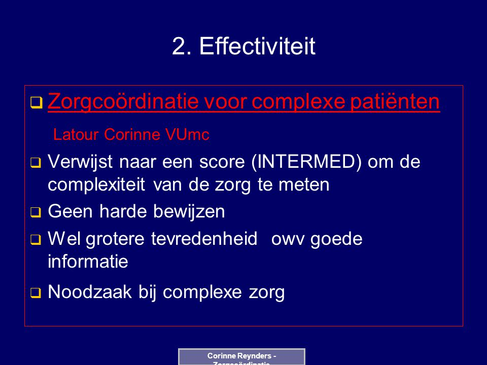 Corinne Reynders - Zorgcoördinatie