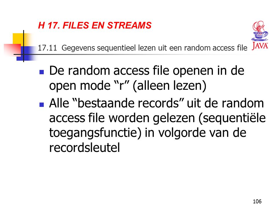 De random access file openen in de open mode r (alleen lezen)