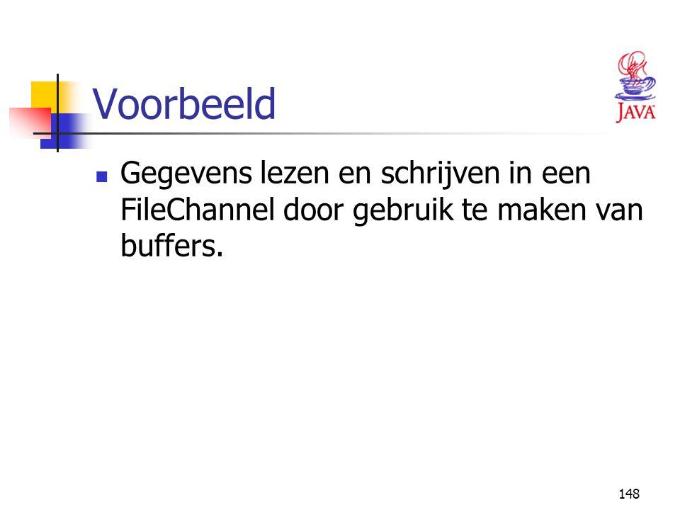Voorbeeld Gegevens lezen en schrijven in een FileChannel door gebruik te maken van buffers.