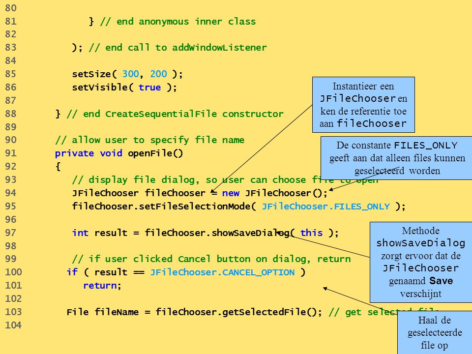 Instantieer een JFileChooser en ken de referentie toe aan fileChooser