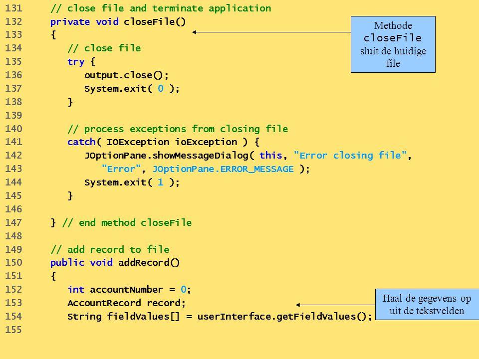 Methode closeFile sluit de huidige file