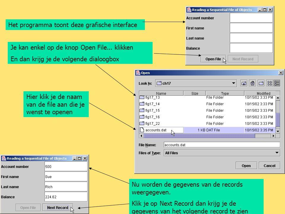 Het programma toont deze grafische interface