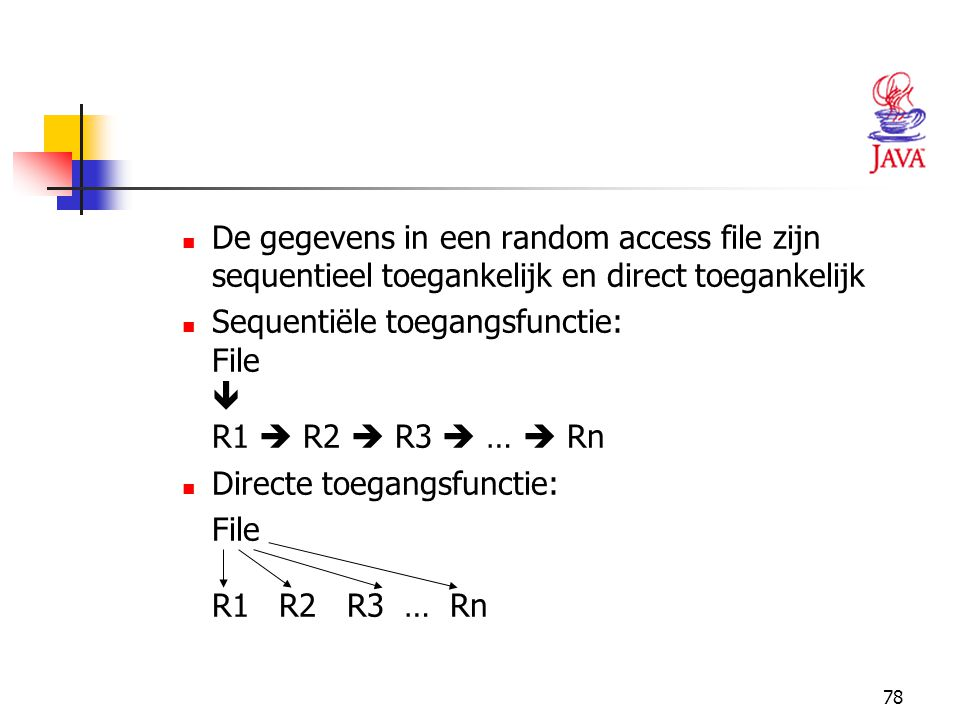 De gegevens in een random access file zijn sequentieel toegankelijk en direct toegankelijk