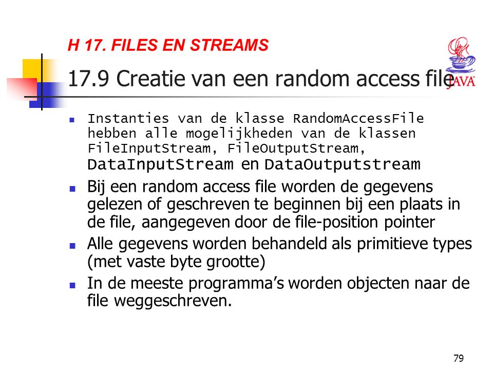 H 17. FILES EN STREAMS 17.9 Creatie van een random access file