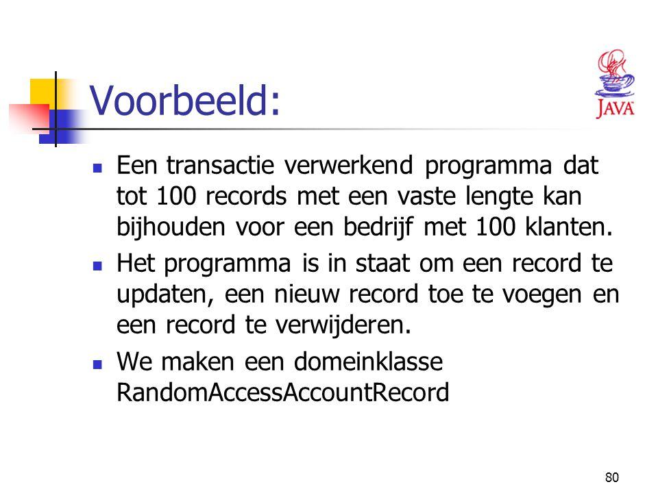 Voorbeeld: Een transactie verwerkend programma dat tot 100 records met een vaste lengte kan bijhouden voor een bedrijf met 100 klanten.