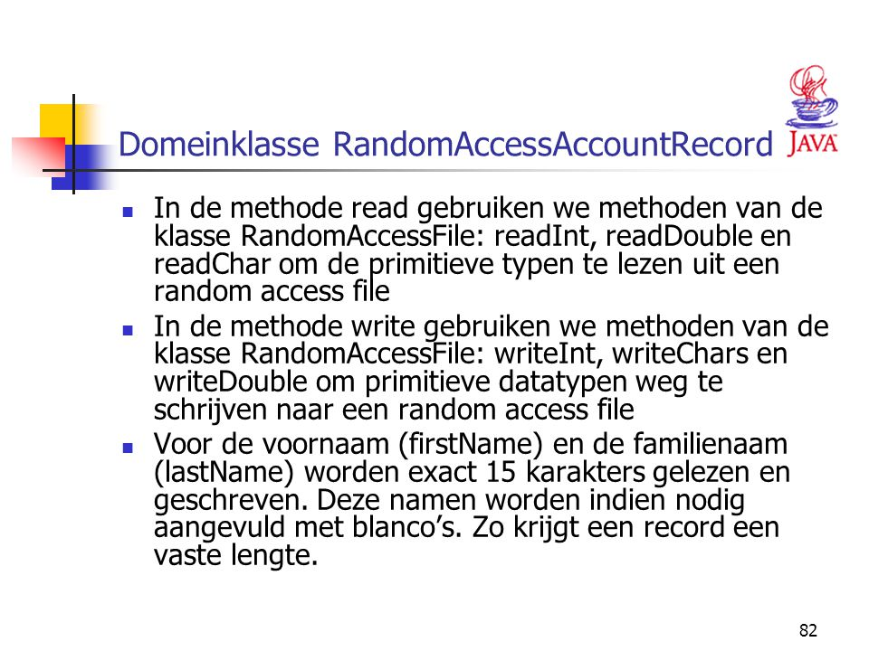 Domeinklasse RandomAccessAccountRecord
